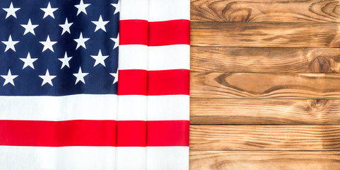American flag on wooden background. Space for text.