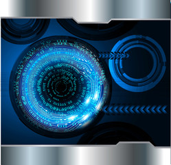 binary circuit board future technology, blue cyber security concept background, abstract hi speed digital internet.motion move blur. eye pixel