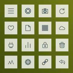 Interface icons line style set with options, close, schedule and other undo