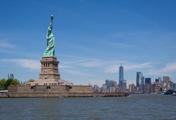 Statue of Liberty and Manhattan Skyline, New York, United States
