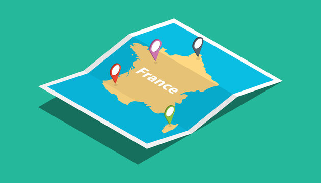 france explore maps with isometric style and pin location tag on top