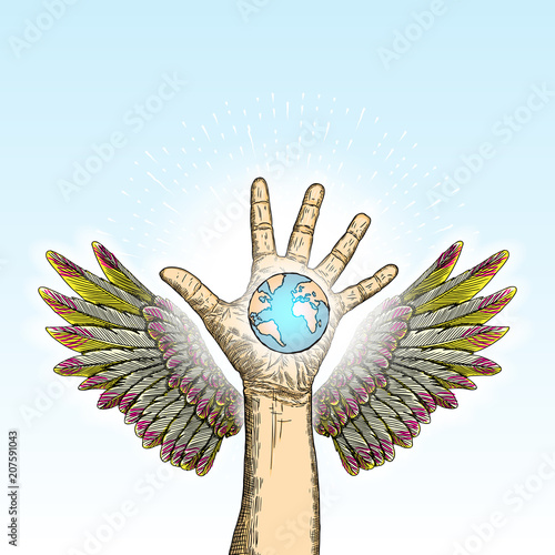 Green World Concept Earth In Angel Guardian Hands Hand With Wings
