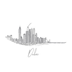 Hand drawn sketch of Marina Dubai UAE. City and beach coast with sand beaches at United Arab Emirates. Illustration. Vector.