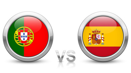 Portugal vs Spain - Match 3 - Group B - 2018 tournament. Shiny metallic icons buttons with national flags isolated on white background.