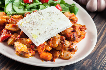 Baked giant beans with feta cheese