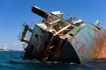 The hull of the wrecked ship.