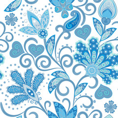 Vintage pattern in indian batik style. Floral hand draw vector background. Blue on white.