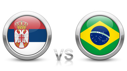 Serbia vs Brazil - Match 41 - Group E - 2018 tournament. Shiny metallic icons buttons with national flags isolated on white background.