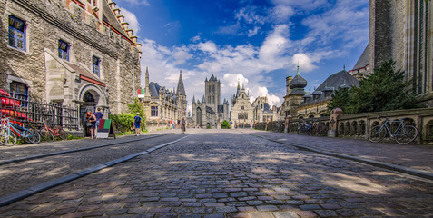GHENT, BELGIUM, Architecture of Ghent city center. Ghent is medieval city and point of tourist destination in Belgium.