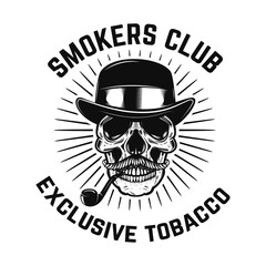 Smokers club. Human skull with smoking pipe . Design element for sign, badge, label, poster, card.