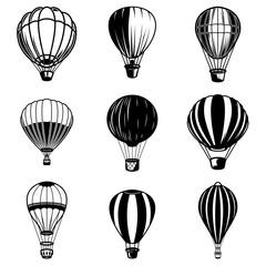 Set of air balloon illustrations. Design element for logo, label, emblem, sign.