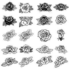 Set of tattoo style roses illustrations. Design element for sign, badge, label, poster, card.
