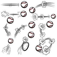 Set of baseball balls with motion trails in comic style. Design element for poster, banner, flyer, card.