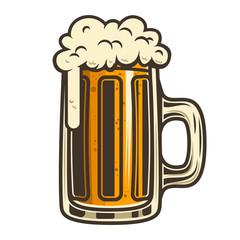 Beer mug illustration. Design element for logo, label, emblem, sign.