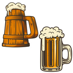 Set of beer mug illustration on white background. Design element for poster, card, emblem, sign, menu.