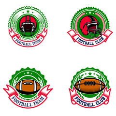 American football emblems. Design element for logo, label, sign.