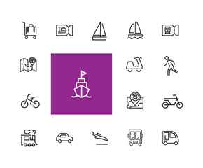 Travel icons. Set of  line icons. Train ticket, bus, bicycle. Trip concept. Vector illustration can be used for topics like transportation, tourism, vacation
