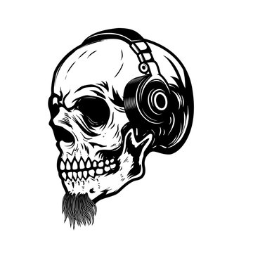 Bearded skull in headphones. Design element for sign, badge, label.