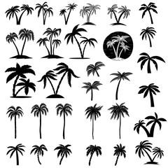 Set of palm tree illustrations. Design element for logo, label, emblem, sign, poster, card, banner.