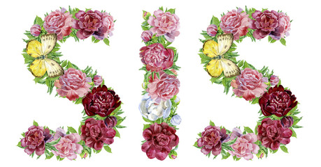 Word Sister of watercolor flowers