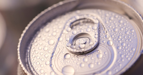Beer can and water droplet