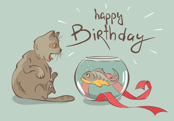 Birthday card, fish -- the best gift for a cat / Funny vector illustration surprised cat and a piranha in an aquarium