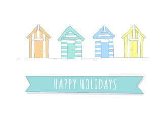 Happy Holidays - Hand Drawn Beach Hut Collection Vectors