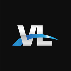 Initial letter VL, overlapping movement swoosh logo, metal silver blue color on black background