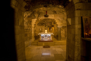 Nazareth, Israel - May 6, 2018 : Grotto of the Virgin Mary in the Basilica of the Annunciation in Nazareth, Israel