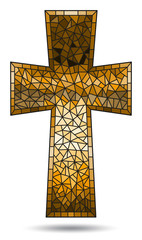 The illustration in stained glass style painting on religious themes, stained glass window in the shape of a brown Christian cross , isolated on white background