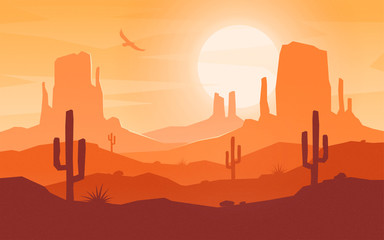 Daytime cartoon flat style desert landscape.  Wall mural