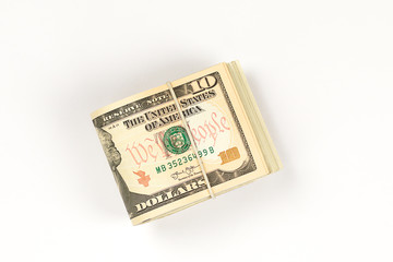 Stack of USA 50 dollars isolated on white background.