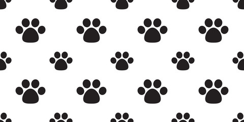 dog paw seamless pattern vector  footprint cat paw cartoon background wallpaper isolated