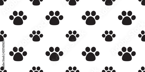 Dog Paw Seamless Pattern Vector Footprint Cat Cartoon Background Wallpaper Isolated