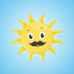 Yellow simple smiling sun with a mustache