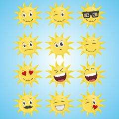 A set of yellow simple smiling sun.