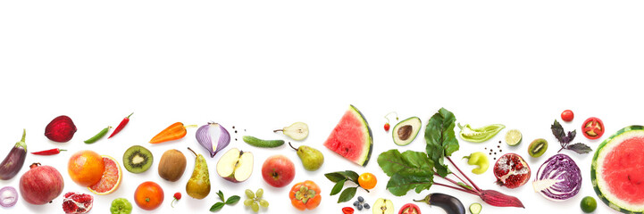 Fototapete - Banner from various vegetables and fruits isolated on white background, top view, creative flat layout.