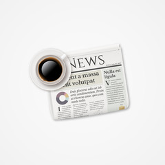 Realistic folded newspaper and coffee. Morning breakfast news vector concept illustration.