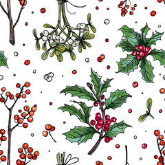Pattern christmas decor, plants line drawn on a white background