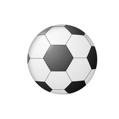 Black and white soccer ball close-up isolated on white background. Football World cup equipment. 3d illustration