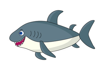 Gray cartoon shark.