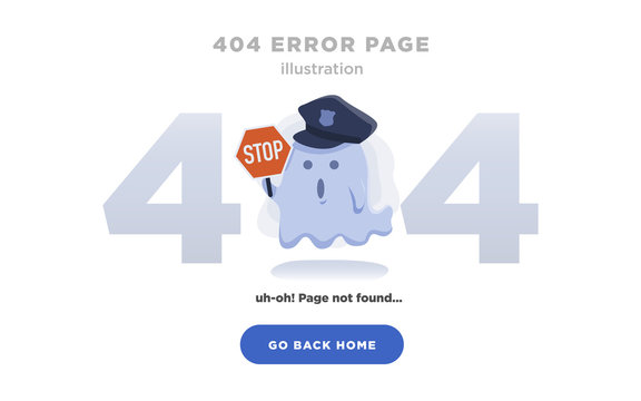 404 Error Page Not Found Design with Ghost holding stop sign