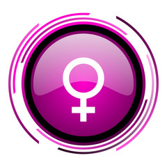 Female gender sign pink glossy web icon isolated on white background