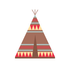 Indian Wigwam with Ornamental Elements. Ethnic Tribal Teepee. Boho style.