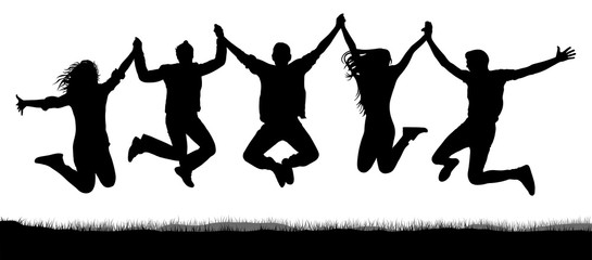 Cheerful crowd of friends jumping, holding hands. People have fun jumping. Silhouette vector. Youth party, amusement, game. Happy, joy teenager jump