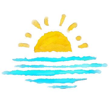 Watercolor sketch sun, sea