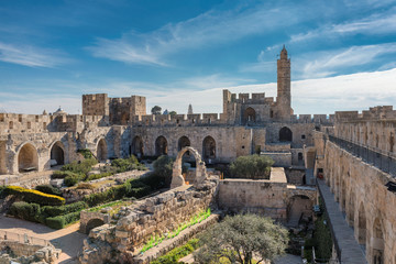 Panoramic view of David's tower at sunny day in spring time in Old City of Jerusalem, Israel.