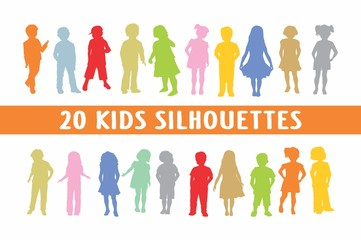 20 Kids in different poses set of shapes