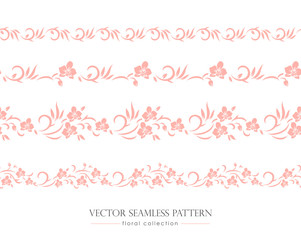 Seamless floral pattern and border with orchids. Vector background.