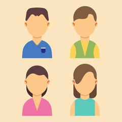 People avatar men and women characters set flat vector illustration design. Web cartoon portrait